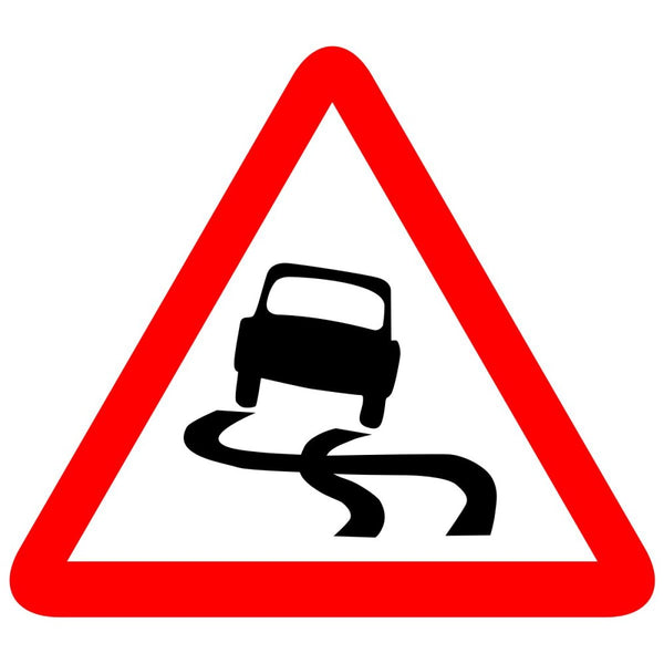 Reflective Slippery Road Cautionary Warning Sign Board