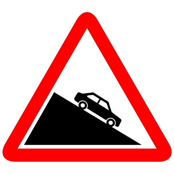 Reflective Steep Descent Cautionary Warning Sign Board