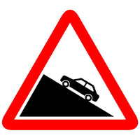 Reflective Steep Ascent Cautionary Warning Sign Board