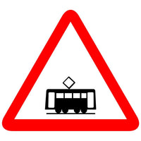 Reflective Trams Crossing Cautionary Warning Sign Board