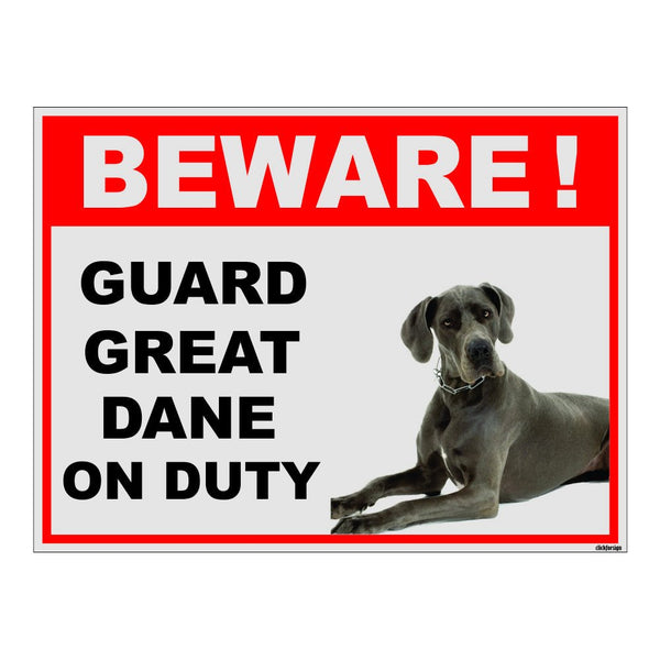 Beware of Great Dane on Duty Sign Board for walls , doors and Gates