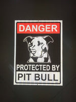 Beware of Pitbull Dog Sign Board for Walls, Doors and Gates (Reflective)