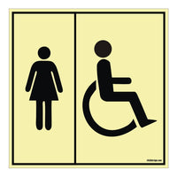 Glow In The Dark Disabled Ladies Toilet General Sign board