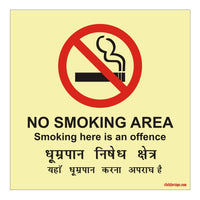 Glow in Dark No Smoking Area Prohibition Sign Board for Walls and Doors, 200 x 200 mm