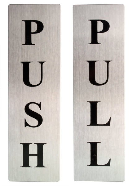 Push Pull Stainless Steel Sign Board Set