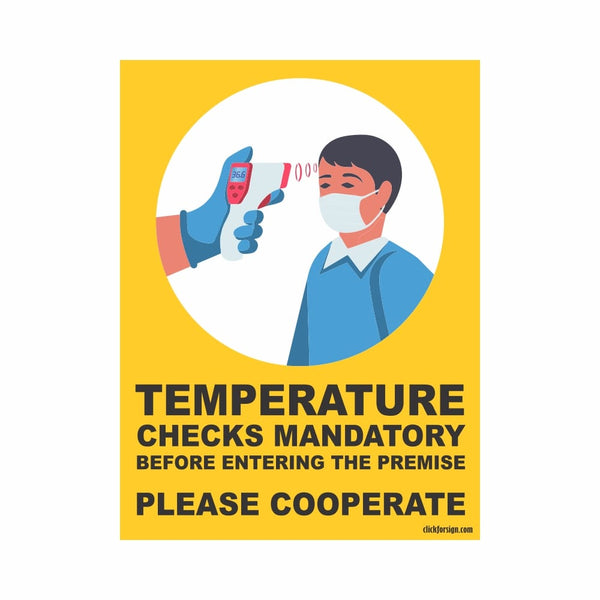COVID Special Mandatory Temperature check Signboard