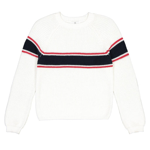 Striped Bombaž Mix Jumper / Pulover v Chunky Knit, 10-18 let