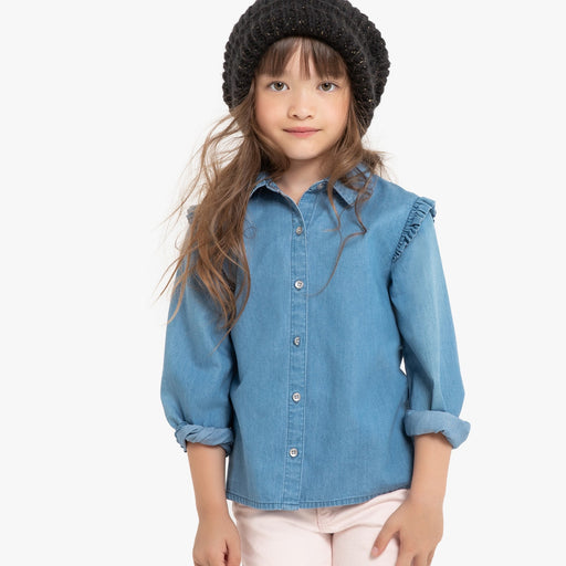 Ruffled denim majica, 3-14 let