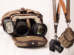 Explorer Lens Pouch | Waxed Canvas and Leather Lens Bag