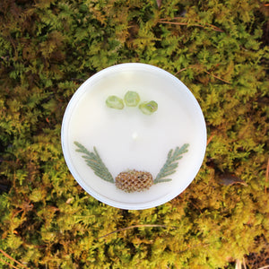 The top of the Flourishing Forest candle by Emerald Hearth.  The top of the candle has green quartz and spruce tips.