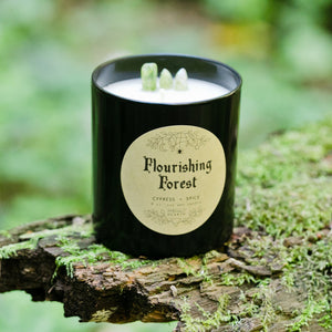 The black Flourishing Forest candle by Emerald Hearth creationson top of a mossy log.  The background is green. There is green quartz sticking out from the candle.