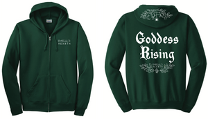 A product image of the front and back of the green Emerald Hearth hoodie which features the words Emerald Hearth on the front top left and the word Goddess Rising in the center of the back.  The hoodie also has a spider web detail across the hood.