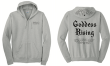 Load image into Gallery viewer, A product image of the front and back of the gray Emerald Hearth hoodie which features the words Emerald Hearth on the front top left and the word Goddess Rising in the center of the back. The hoodie also has a spider web detail across the hood.