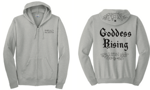 A product image of the front and back of the gray Emerald Hearth hoodie which features the words Emerald Hearth on the front top left and the word Goddess Rising in the center of the back. The hoodie also has a spider web detail across the hood.