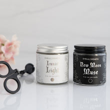 Load image into Gallery viewer, From left to right, a wick trimmer, the mini lunar light candle and then the new moon muse candle.  This bundle is by emerald hearth creations.