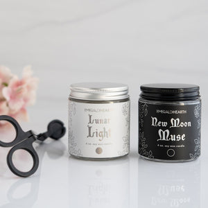 From left to right, a wick trimmer, the mini lunar light candle and then the new moon muse candle.  This bundle is by emerald hearth creations.