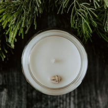 Load image into Gallery viewer, Aerial view of the Siren of the Sea mini candle.  This candle is inspired by the ocean and has a small seashell on top.  Made locally in Santa Cruz, California.