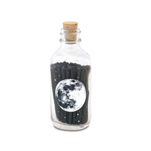 The Full Moon matches sold by Emerald Hearth Creations.  These black matches are in a mini apothecary bottle with a full moon and stars printed on it.  The apothecary bottle also has a cork.