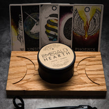 Carica l'immagine nel visualizzatore di Gallery, The Large wooden moon stand which has a full moon in the center and a crescent moon facing outward on either side.  The tray has an Emerald Hearth Creations candle in the center.  Behind the tray are five Tarot cards.