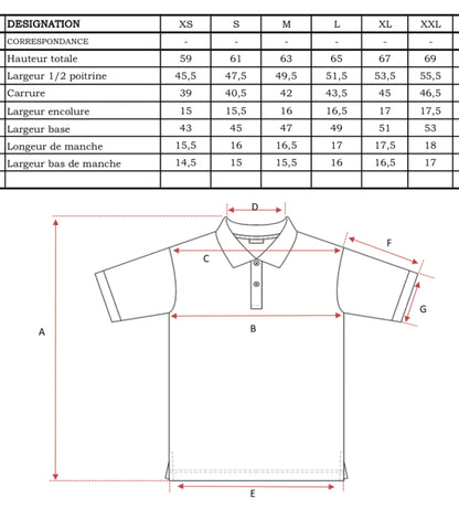 guides des tailles polo made in france scambia femme