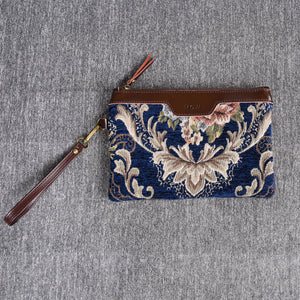 Carpet Clutch & Wristlet<br>Floral Blue