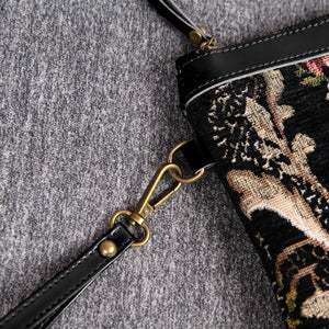 Carpet Makeup Bag<br>Floral Black