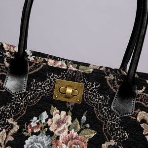 Carpet Tote<br>Floral Black