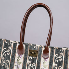Load image into Gallery viewer, Carpet Tote<br>Victorian Stripes Grass