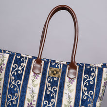 Load image into Gallery viewer, Carpet Tote<br>Victorian Stripes Navy