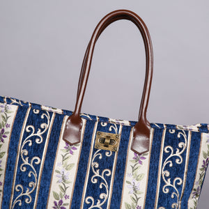 Carpet Tote<br>Victorian Stripes Navy