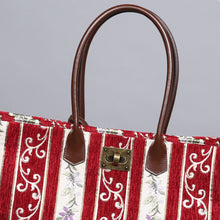 Load image into Gallery viewer, Carpet Tote<br>Victorian Stripes Red
