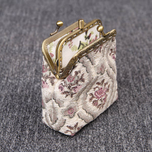 Vintage Carpet Coin Purse Double Kiss Lock<br>Traditional Color
