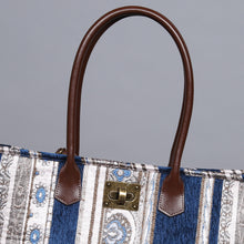 Load image into Gallery viewer, Carpet Tote<br>Ethnic Stripes Navy