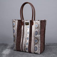 Load image into Gallery viewer, Carpet Tote<br>Ethnic Stripes Coffee