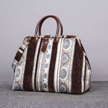 Load image into Gallery viewer, Mary Poppins Carpet Bag<br>Ethnic Stripes Coffee