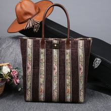Load image into Gallery viewer, Carpet Tote<br>Floral Stripes Coffee