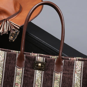 Carpet Tote<br>Floral Stripes Coffee