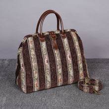Load image into Gallery viewer, Mary Poppins Carpet Bag<br>Floral Stripes Coffee