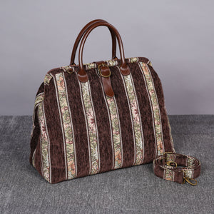 Mary Poppins Carpet Bag<br>Floral Stripes Coffee