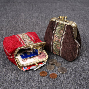 Vintage Carpet Coin Purse Double Kiss Lock<br>Floral Stripes