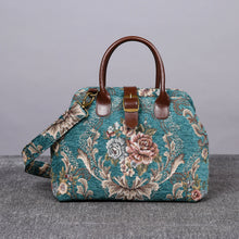 Load image into Gallery viewer, Carpet Purse<br>Victorian Blossom Floral Teal