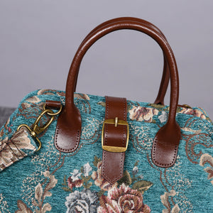 Carpet Purse<br>Victorian Blossom Floral Teal