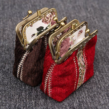 Load image into Gallery viewer, Vintage Carpet Coin Purse Double Kiss Lock<br>Floral Stripes