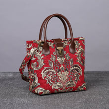 Load image into Gallery viewer, Mini Carpet Tote<br>Victorian Blossom Red/Gold