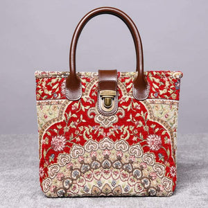 Mini Carpet Tote<br>Oriental Wine