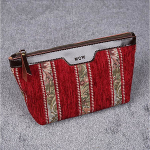 Carpet Makeup Bag<br>Floral Stripes Red