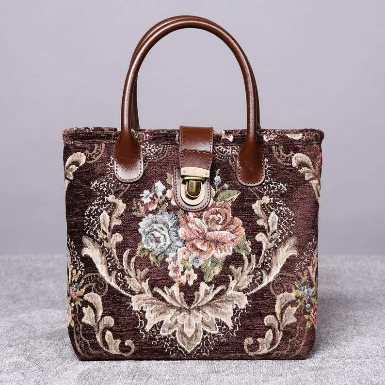 Mini Carpet Tote<br>Floral Coffee