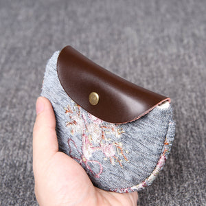 Minimalist Style Leather Carpet Coin Purse<br>Bouquet Pattern