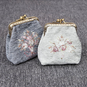Vintage Carpet Coin Purse Double Kiss Lock<br>Bouquet Pattern