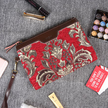 Load image into Gallery viewer, Carpet Clutch & Wristlet<br>Victorian Blossom Red/Gold